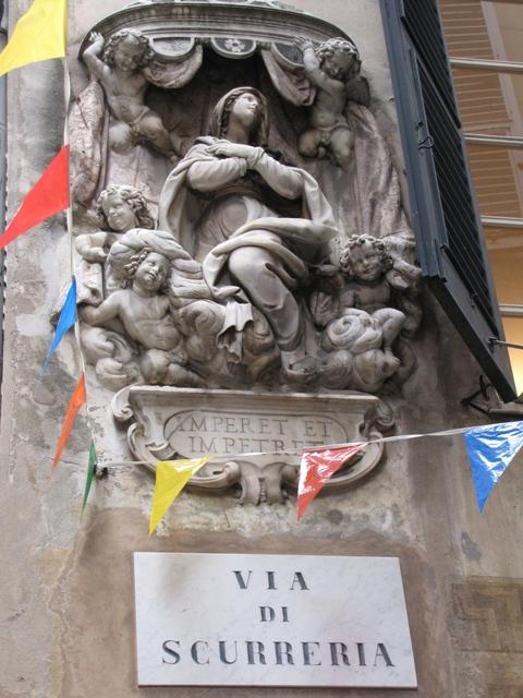 Aedicole votive in the corner of a palace in Genoa