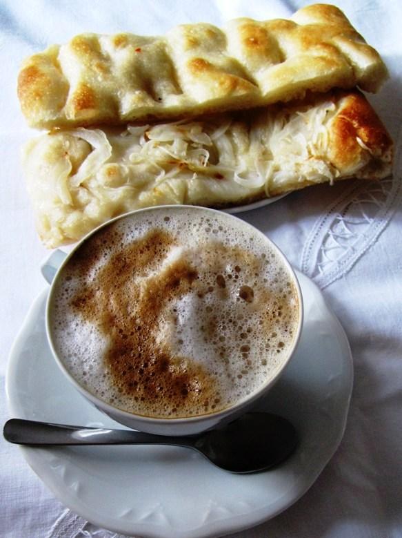 Focaccia and cappuccino