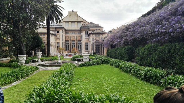 Gardens in Rolli palace in Genoa