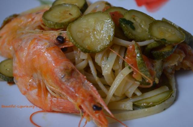 Trenette Zucchini and Shrimps